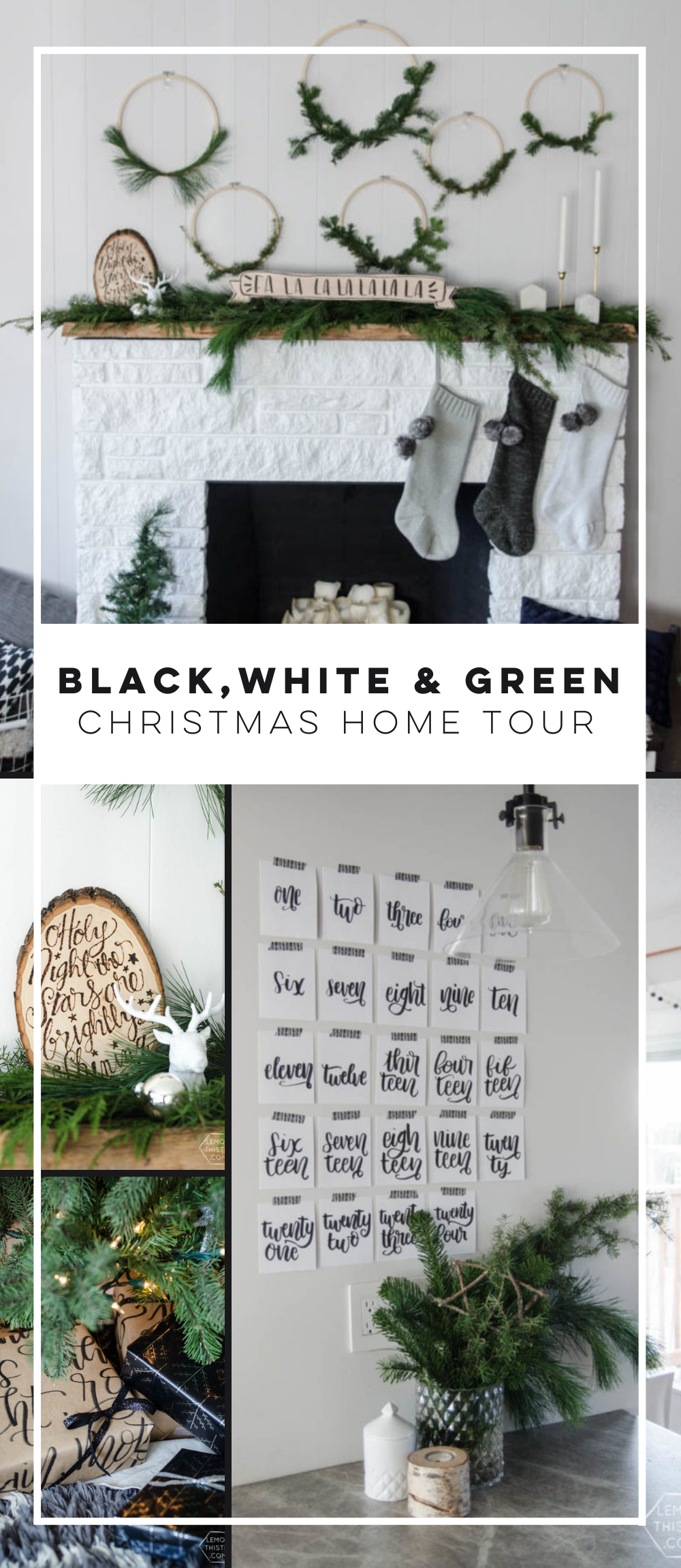 Black White Green All Over Christmas Home Tour Lemon Thistle