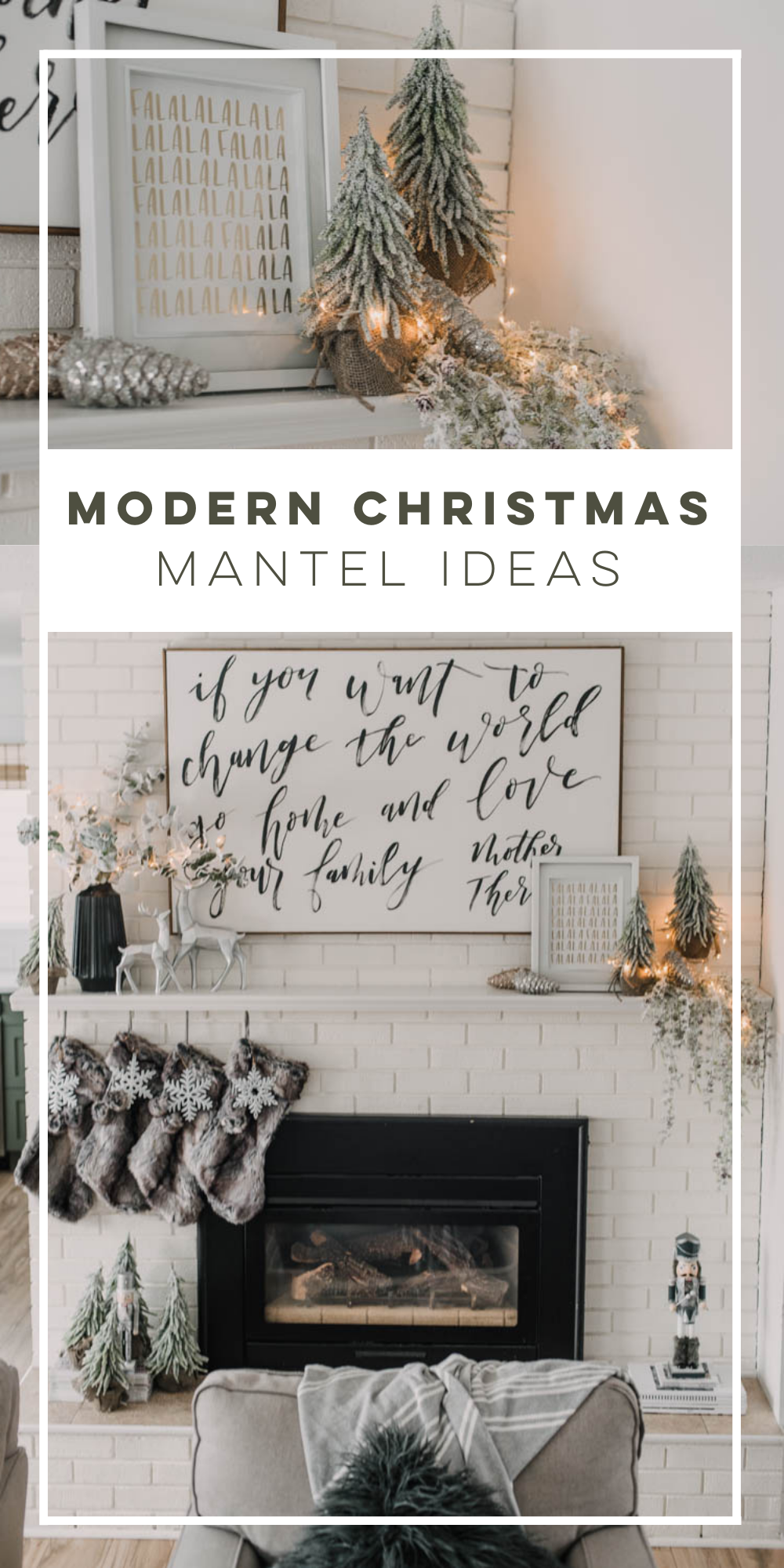 Modern holiday mantel ideas... full of black, white, metallics, and frosted greenery
