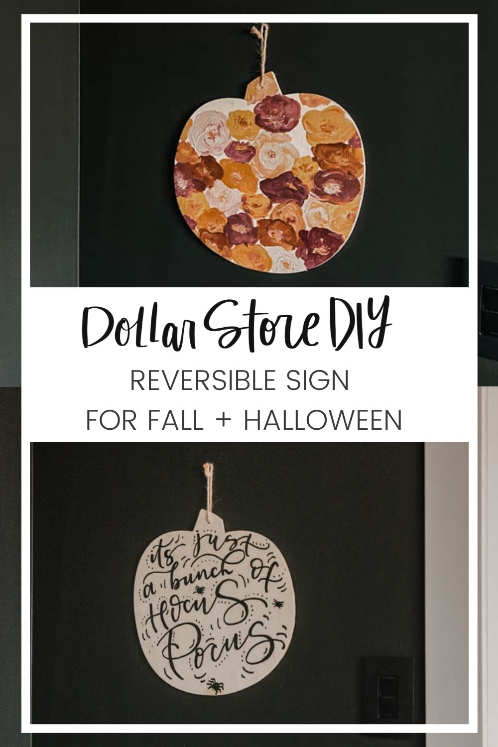 Reversible pumpkin decor for fall and halloween