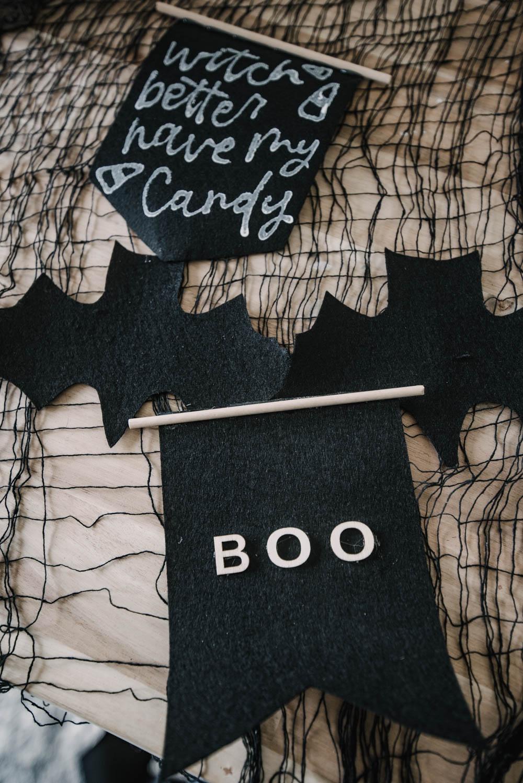 Tiny felt pennants for halloween