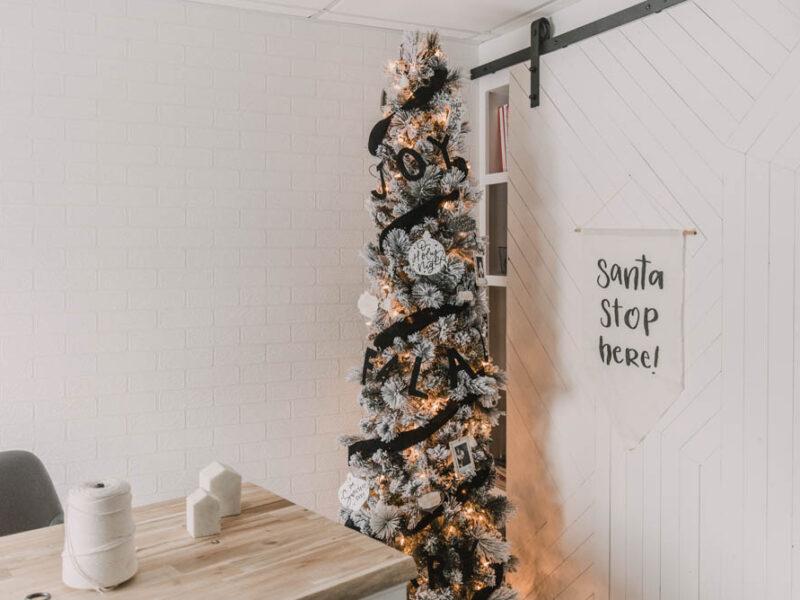 Modern black and white flocked christmas tree decor
