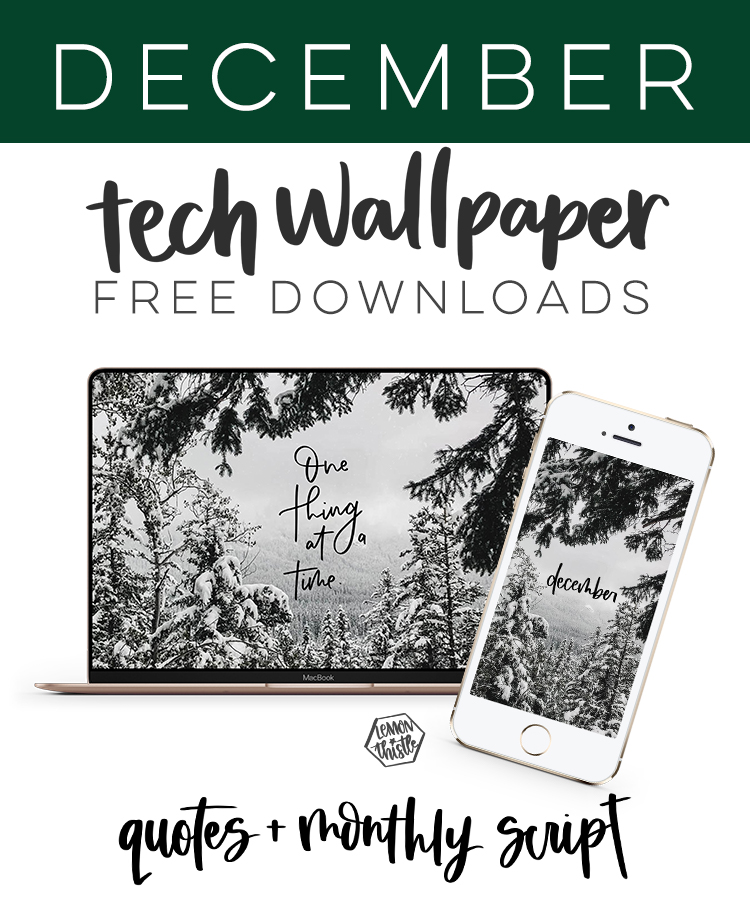 """Inspiring quote tech wallpaper for December, """"One Thing at a Time"""", and monthly script. Free download version for your phone, iPad and computer."""
