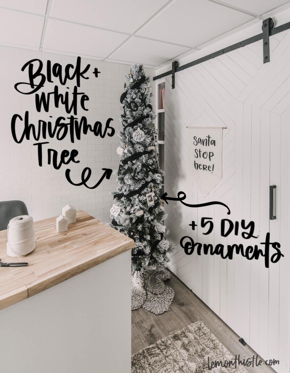 Casual Black White Flocked Tree Decor Lemon Thistle