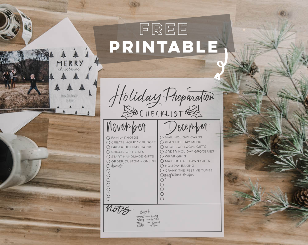 Free Printable Holiday Prep Checklist