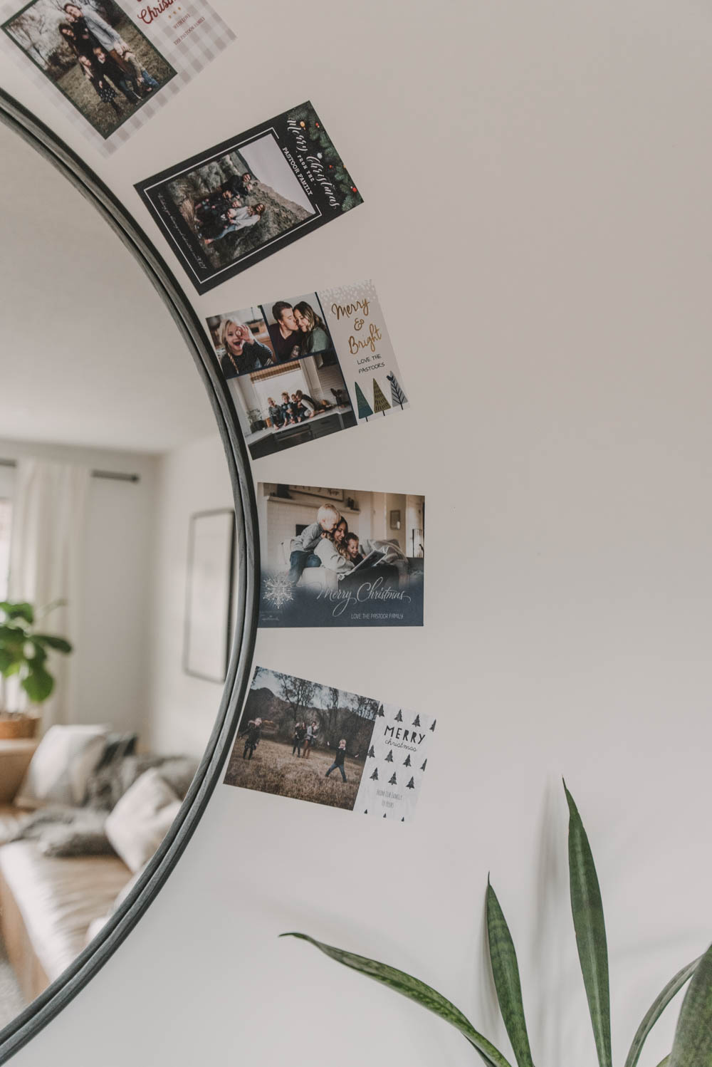 Display Holiday Cards Around A Mirror