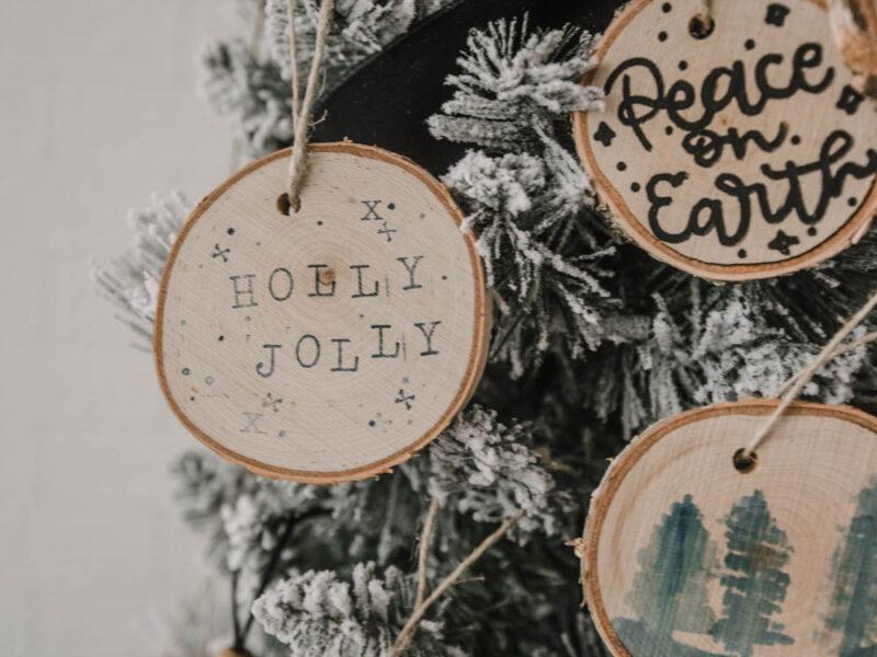 Stamped wood slice ornaments