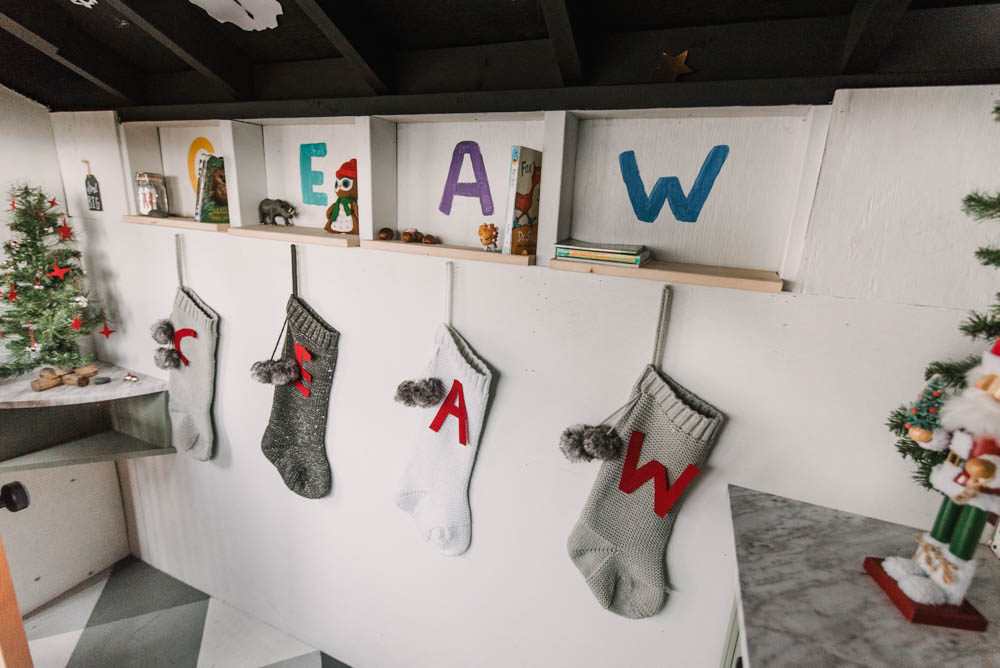 christmas stockings in a playhouse