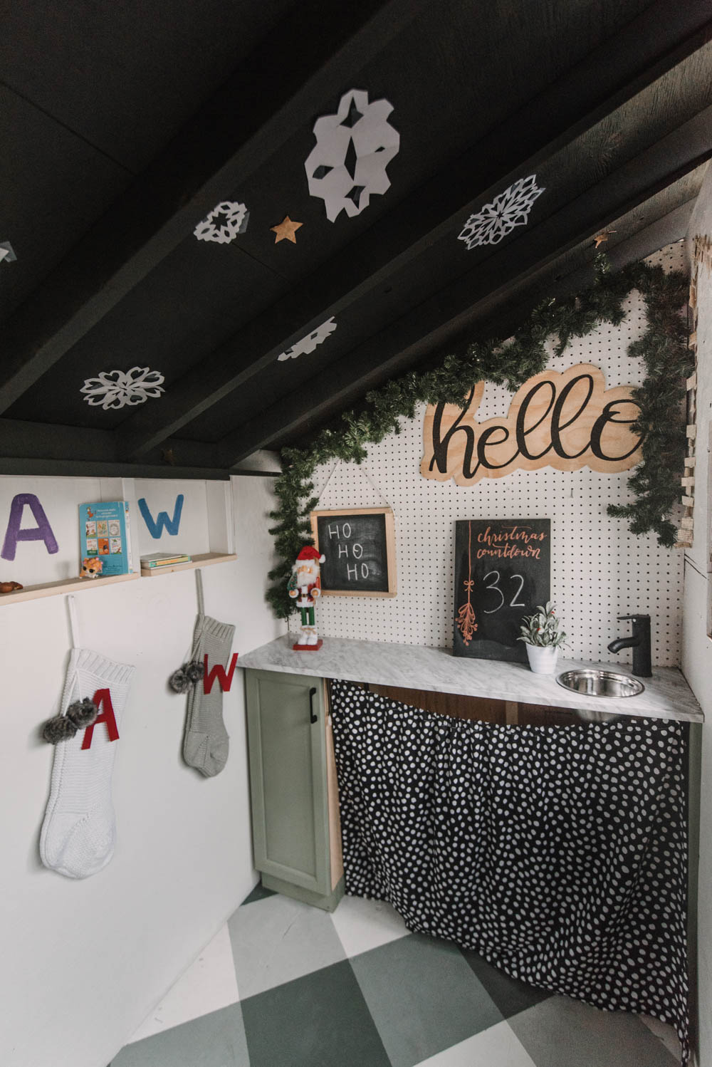 Christmas decorations for a kids playhouse