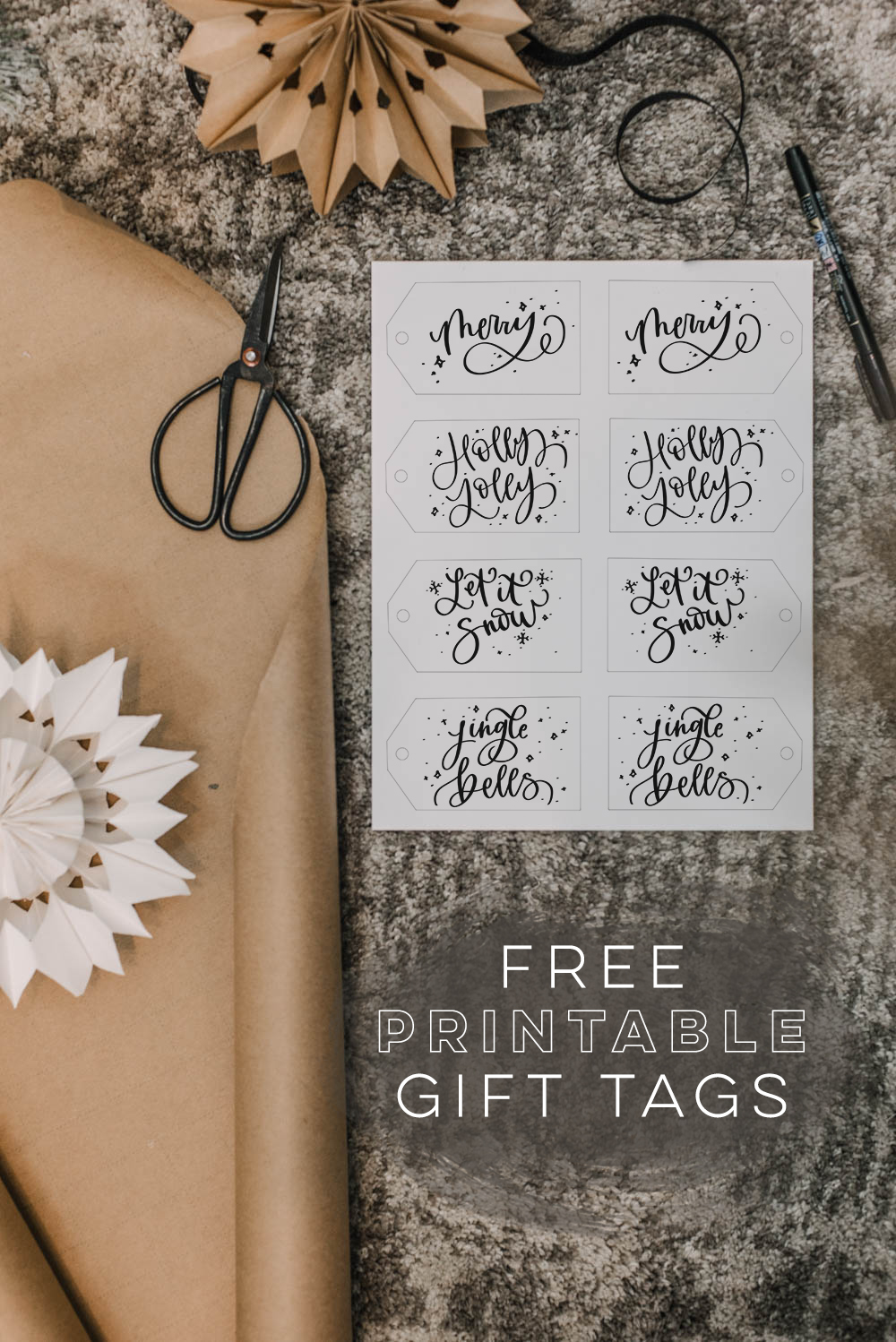 4 Free Printable Hand Lettered Gift Tags