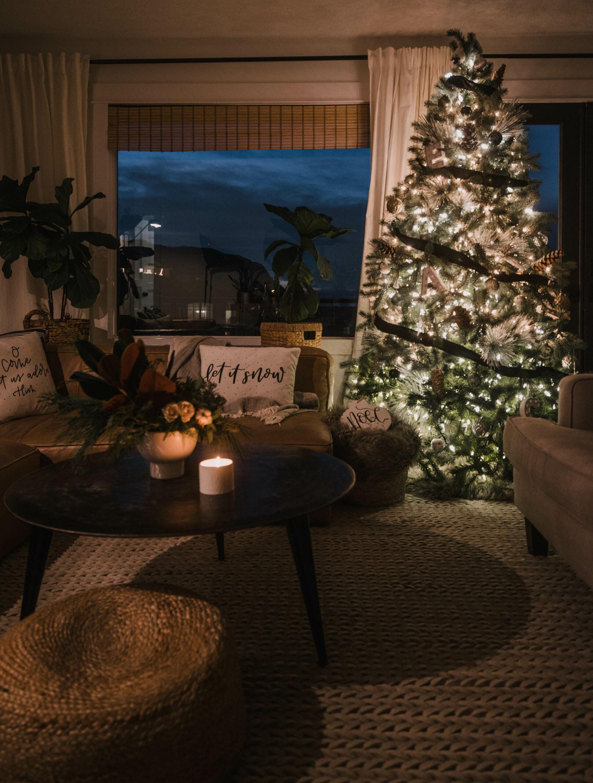Holiday Home Decor at Night