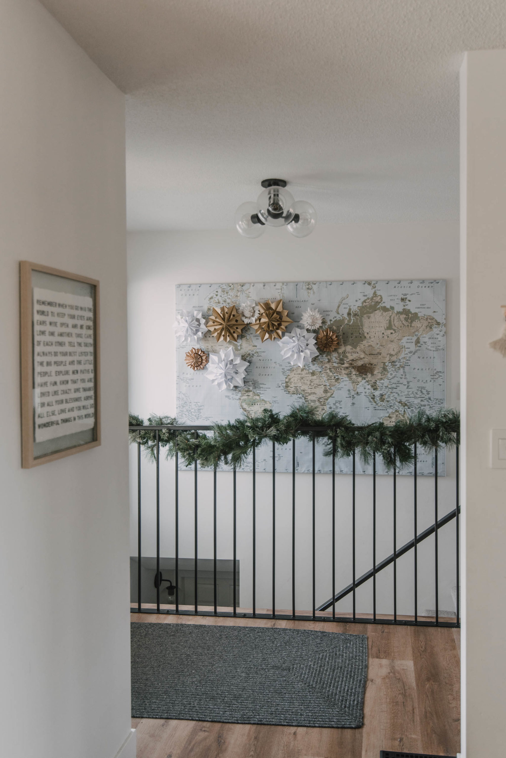 Paper Bag Snowflakes Installation