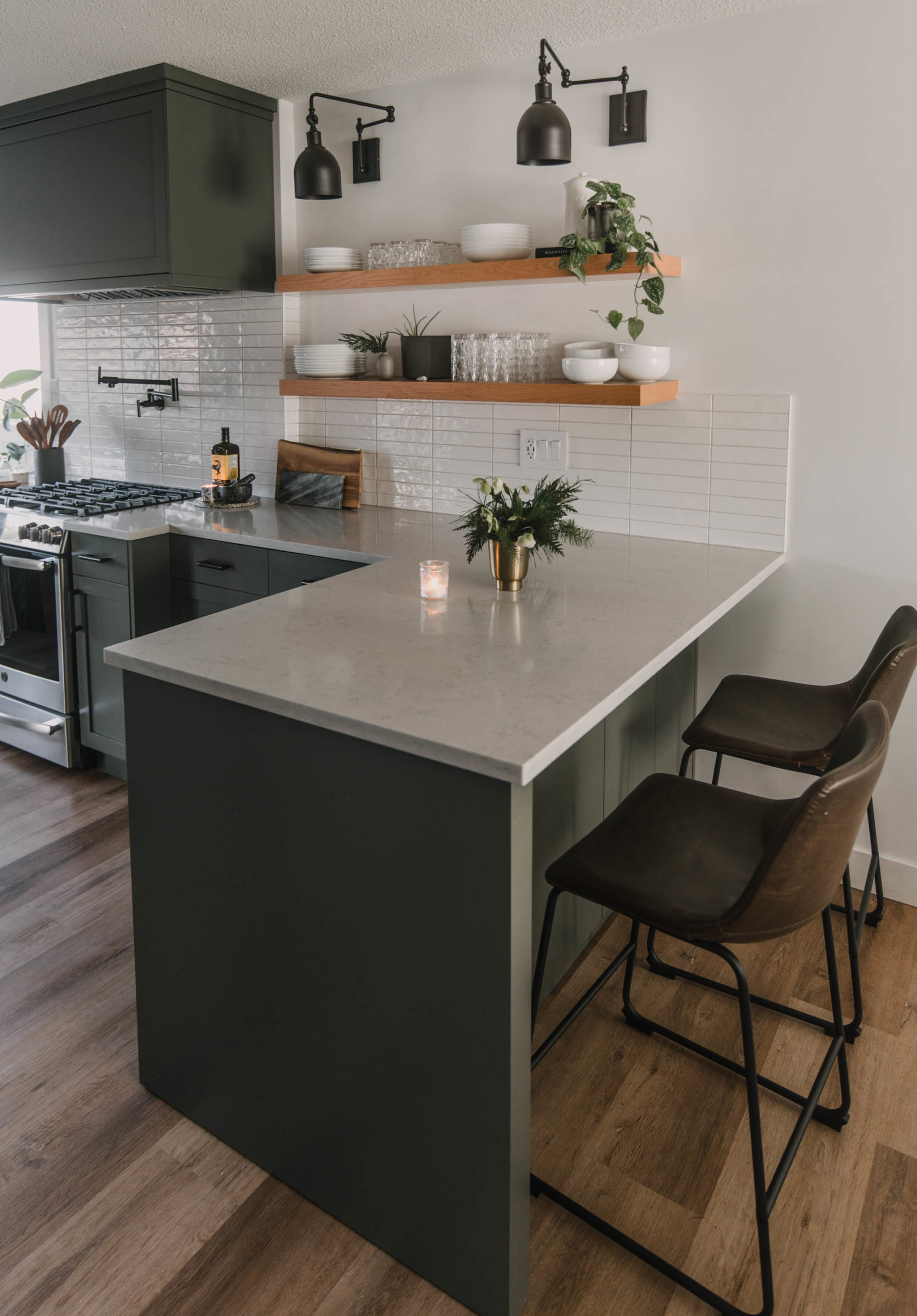 Simple Holiday Decor in a Green Kitchen