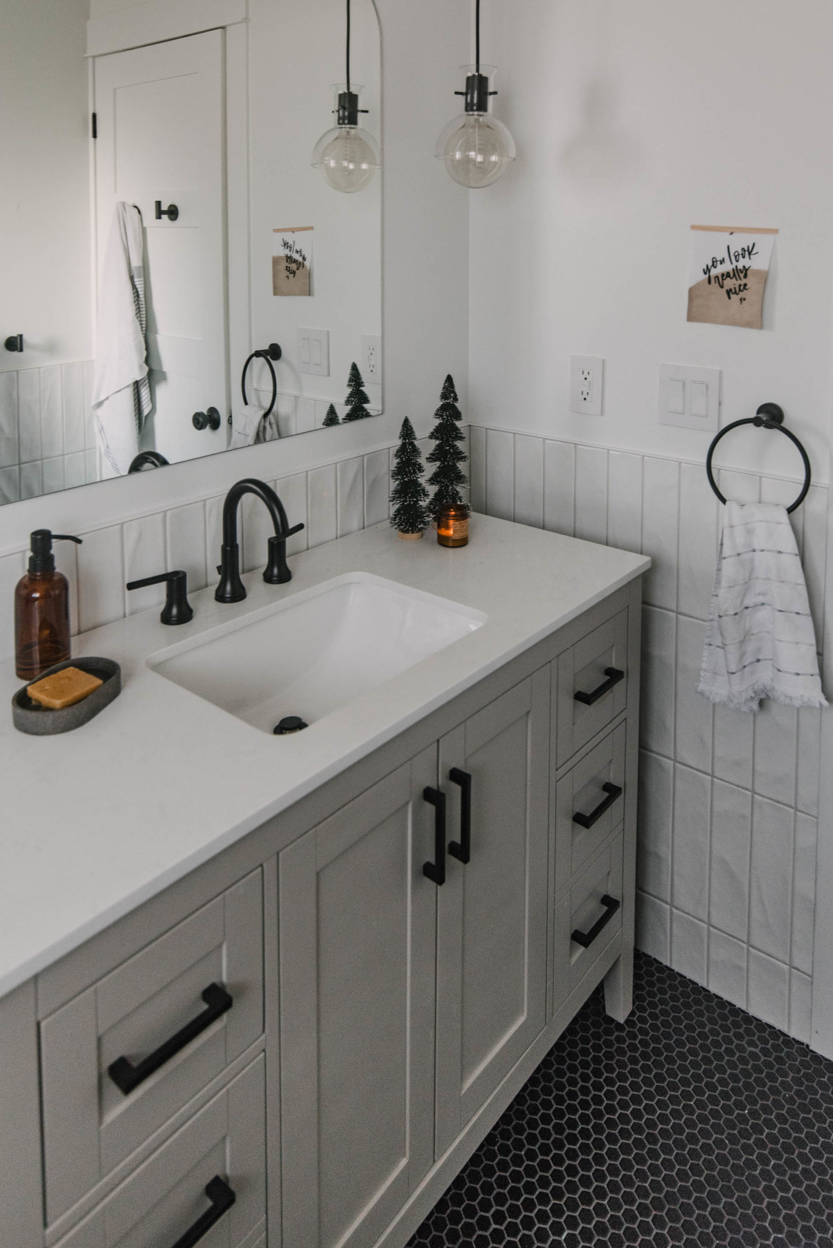 Modern Bathroom Decorated for Christmas