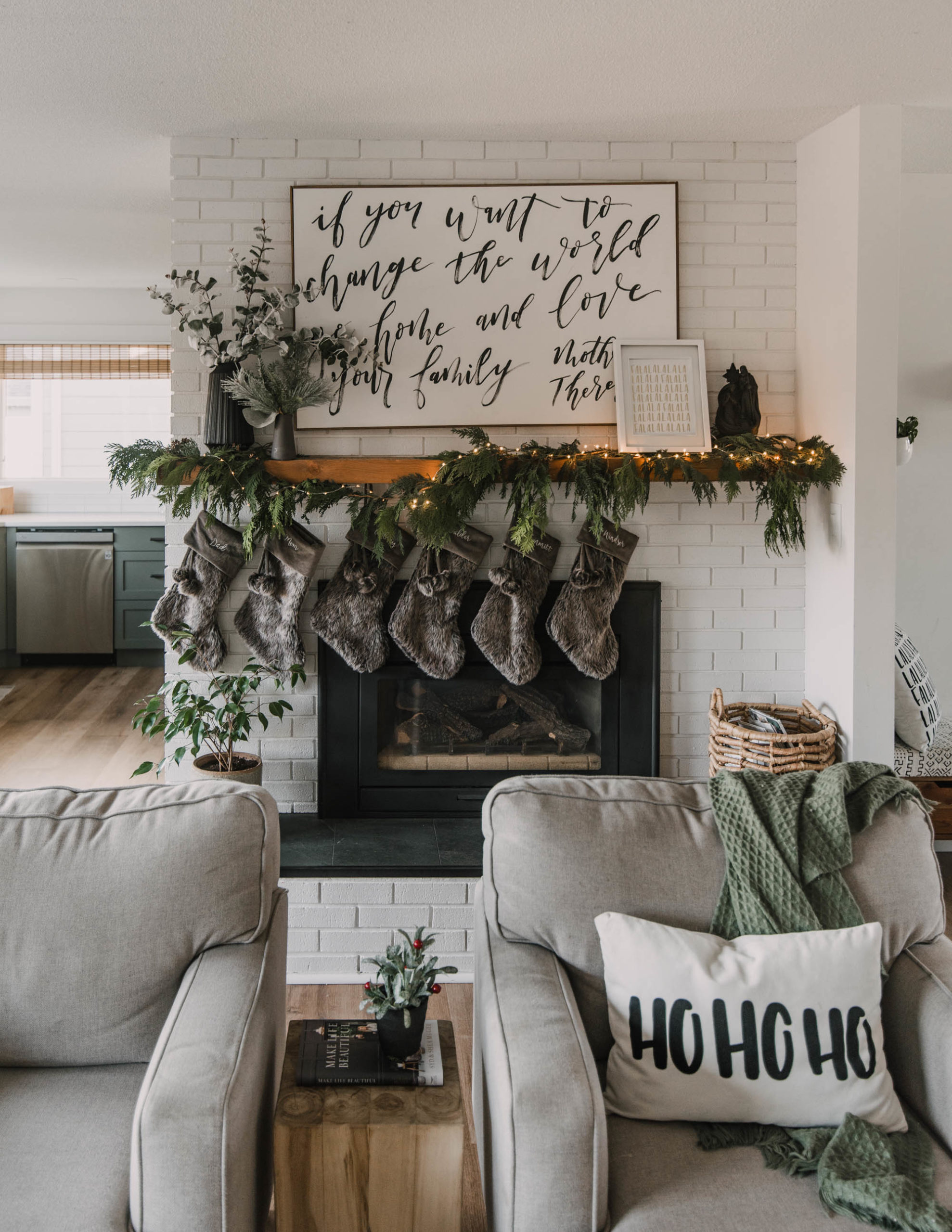 Holiday Home Tour full of fresh greenery and hand lettered details