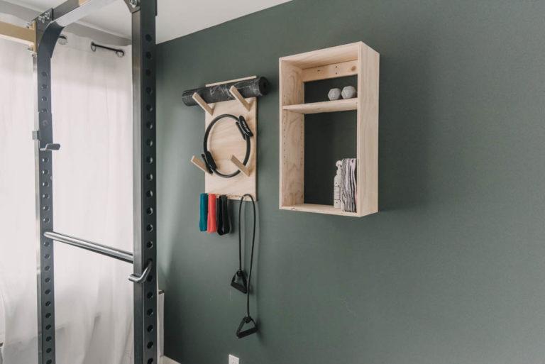 wall mounted exercise storage shelves