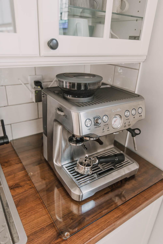glass cutting board underneath espresso machine for butcher block counters