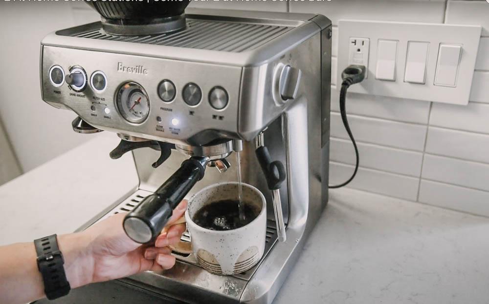Breville Barista Express dispensing hot water