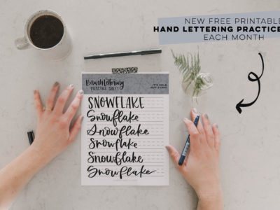 printed snowflake brush lettering practice page with text overlay: Free Printable Practice Sheet