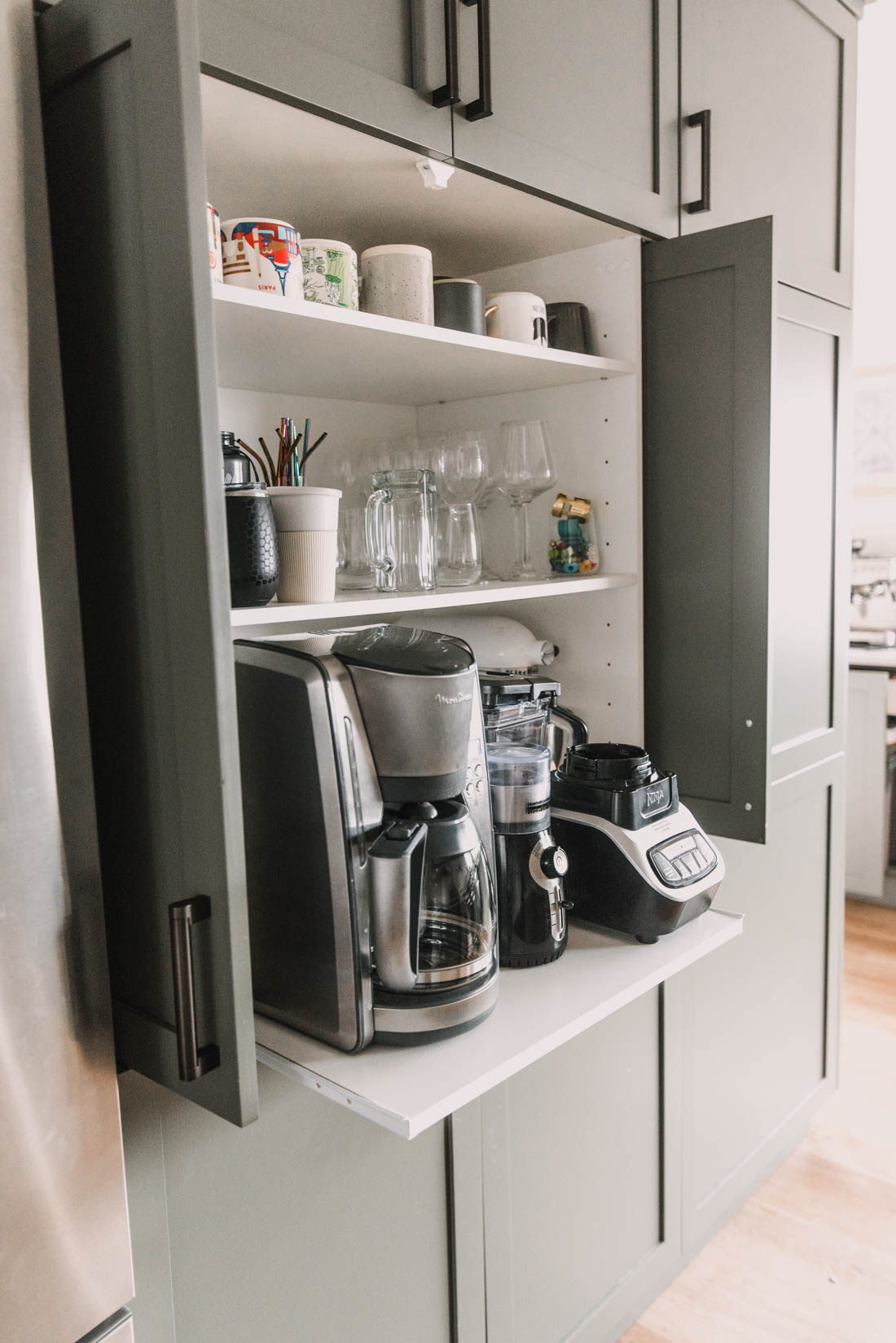 DIY Appliance Garage with Pull Out Shelf