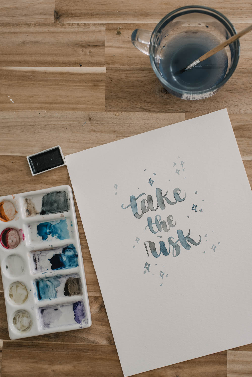 finished watercolour lettering piece- take the risk