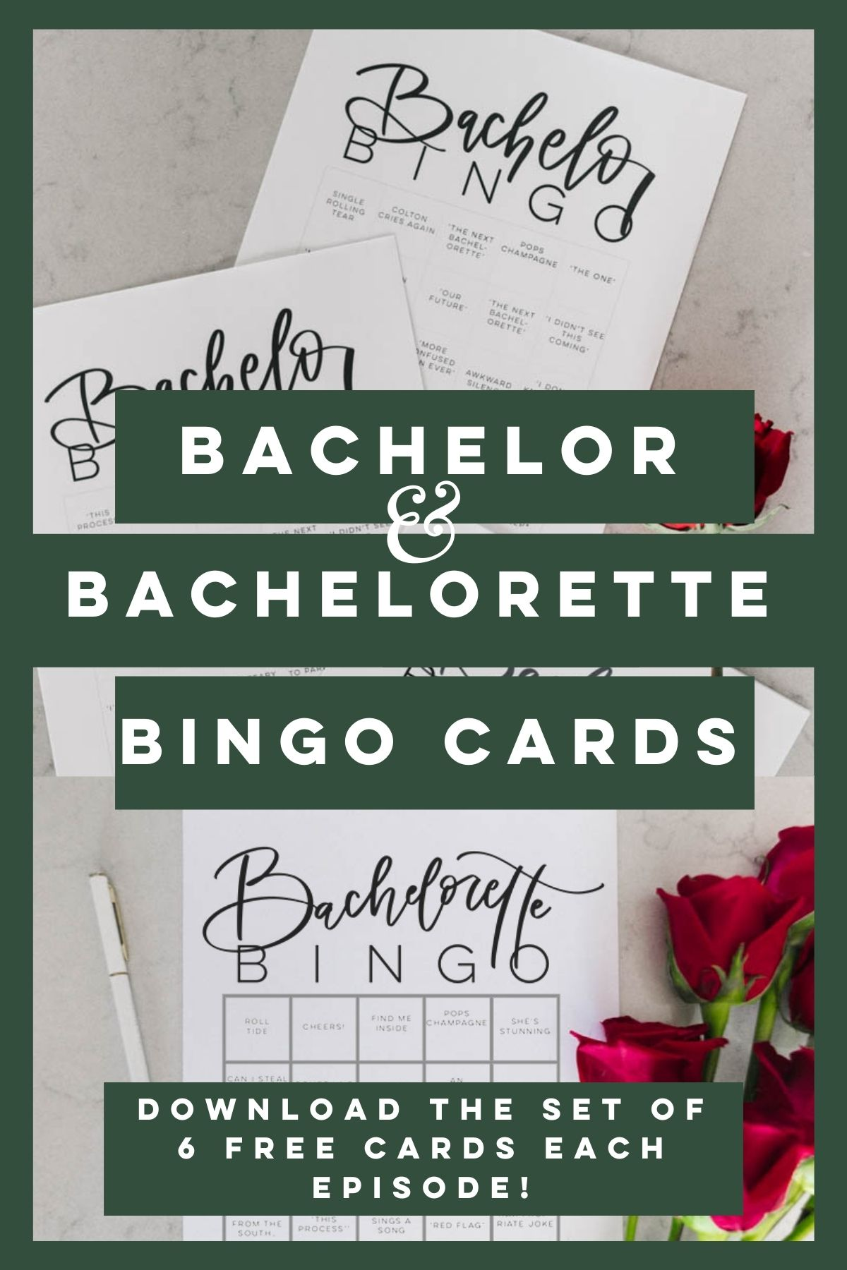 Bachelor and Bachelorette Bingo Cards- Free printables for the TV Show