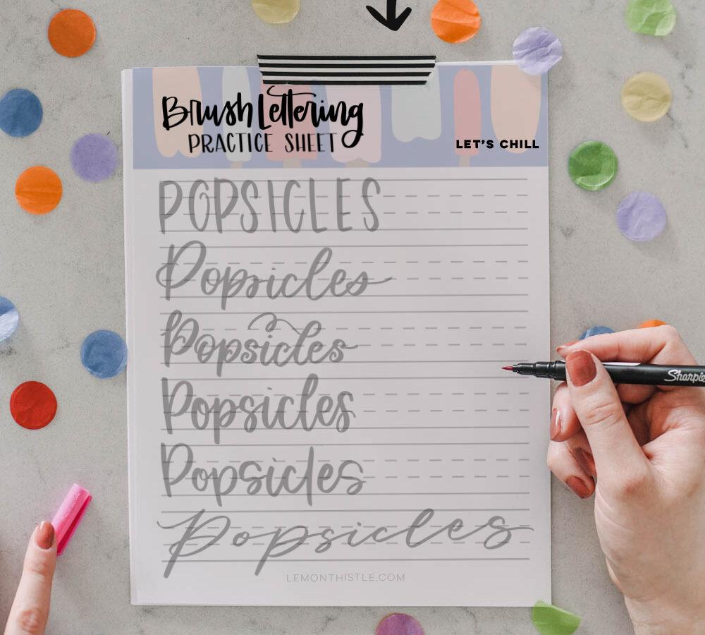 Popsicles hand lettering practice sheet