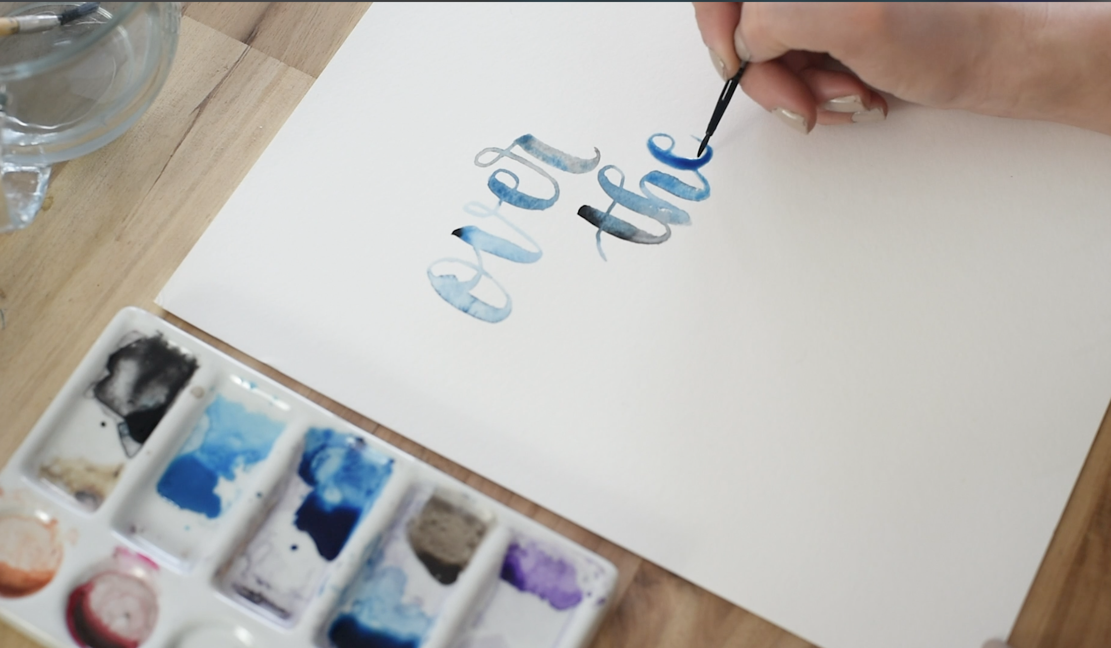 hand lettering with watercolour (over the moon)