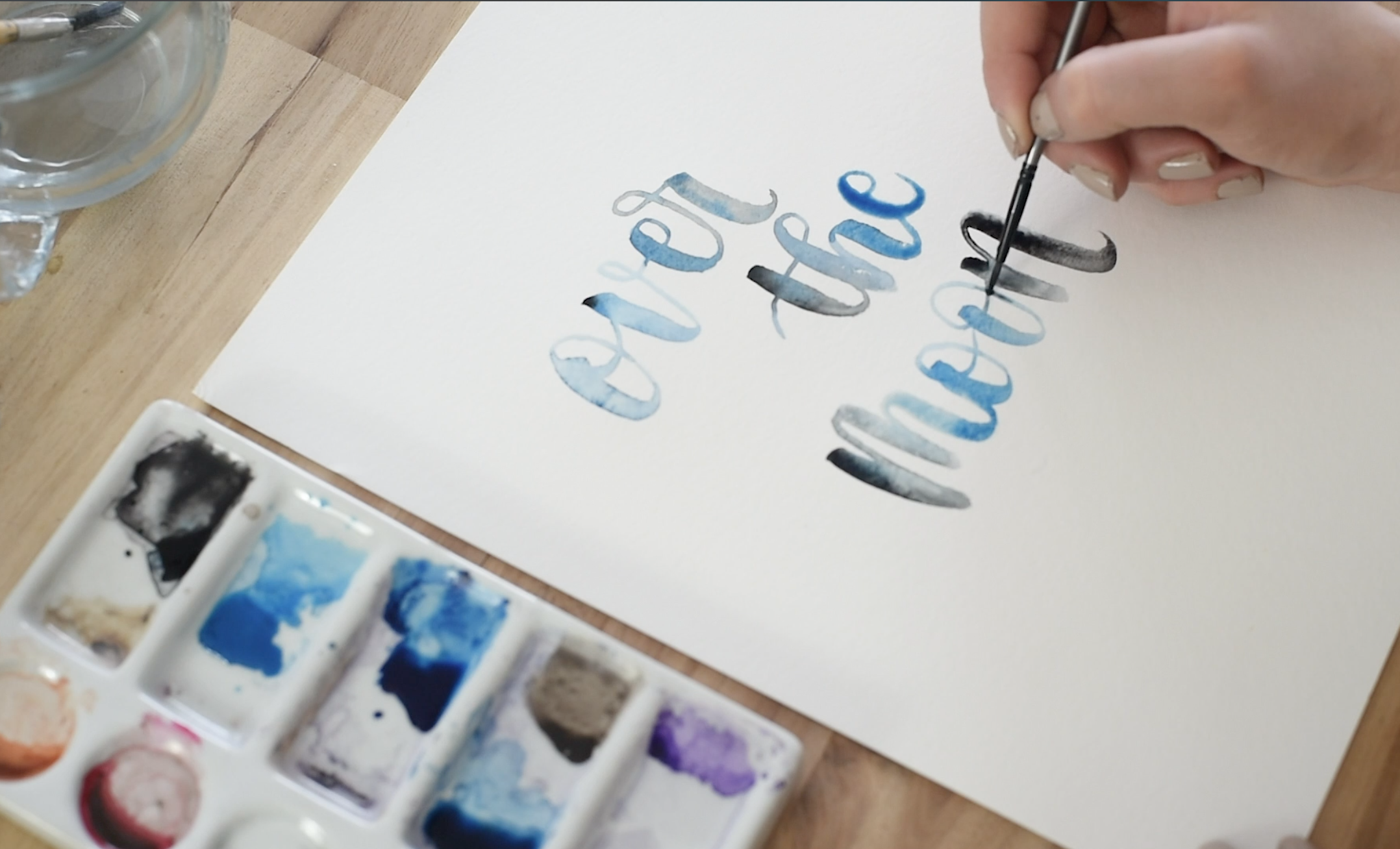 blending black and blue watercolour hand lettering (over the moon)