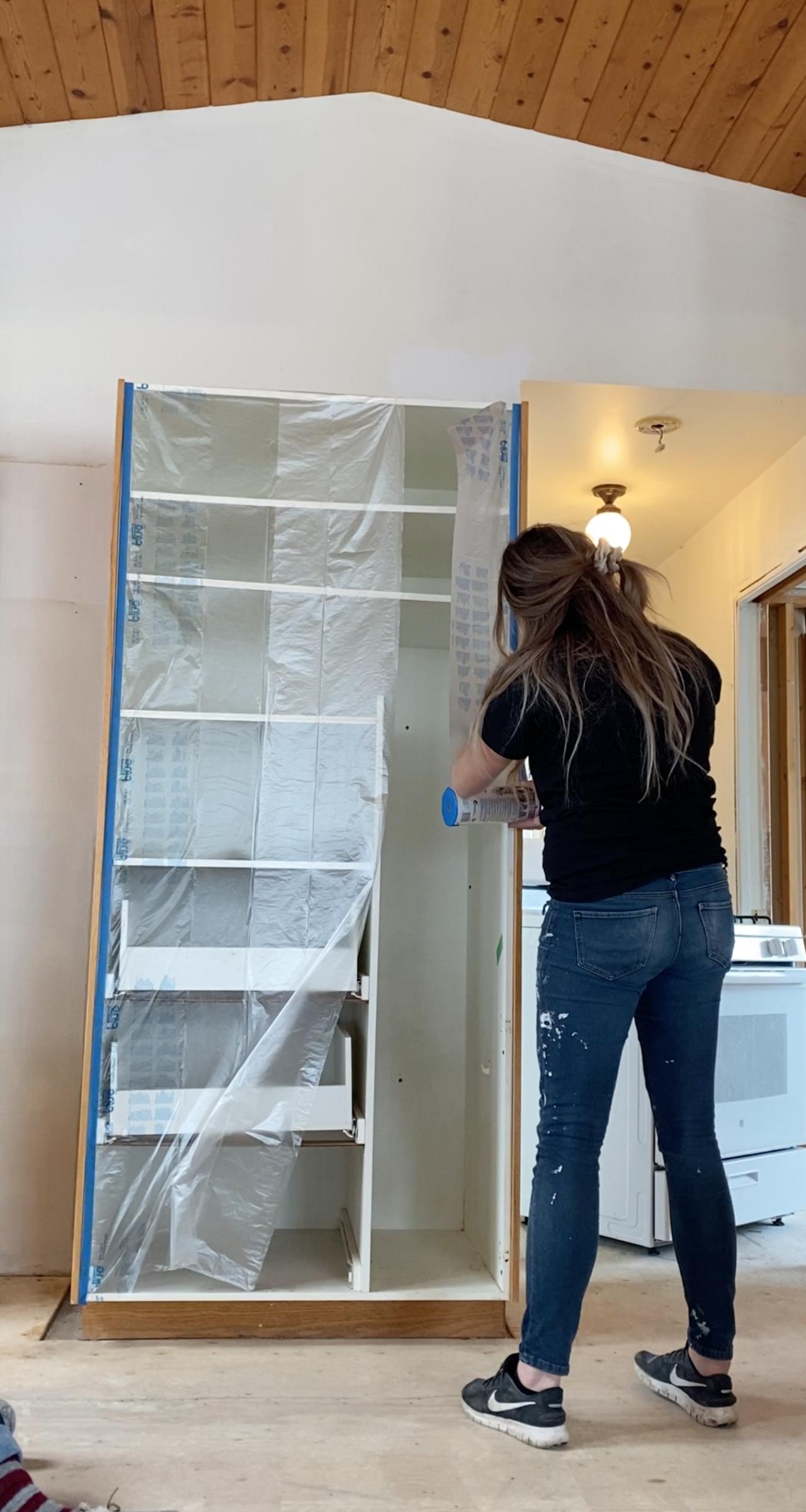 Masking to paint kitchen cabinets