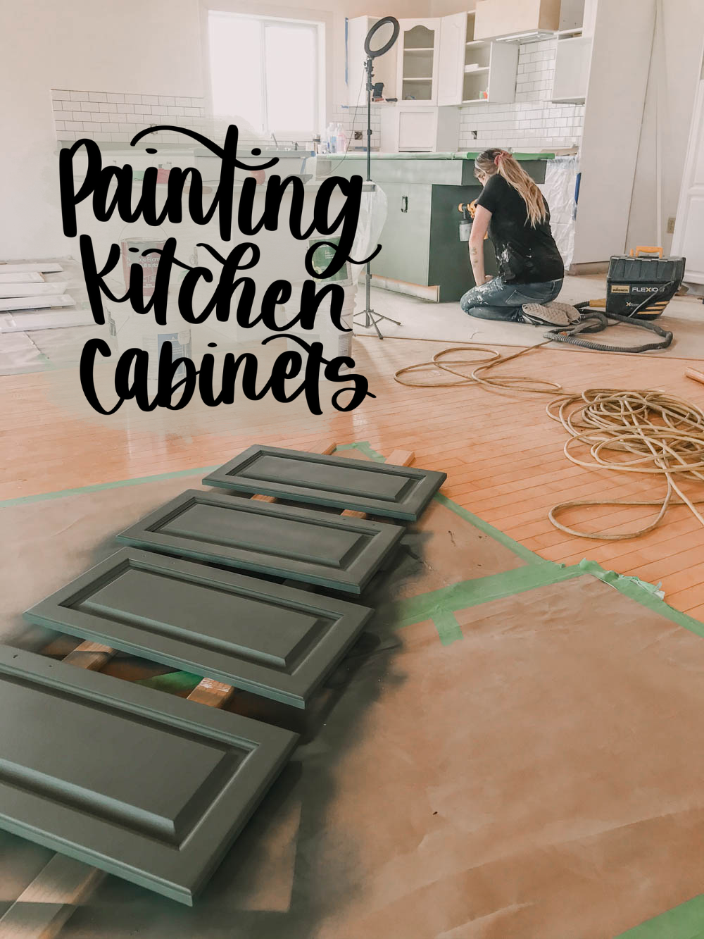 photo of colleen painting the kitchen island with text overlay: Painting Kitchen Cabinets