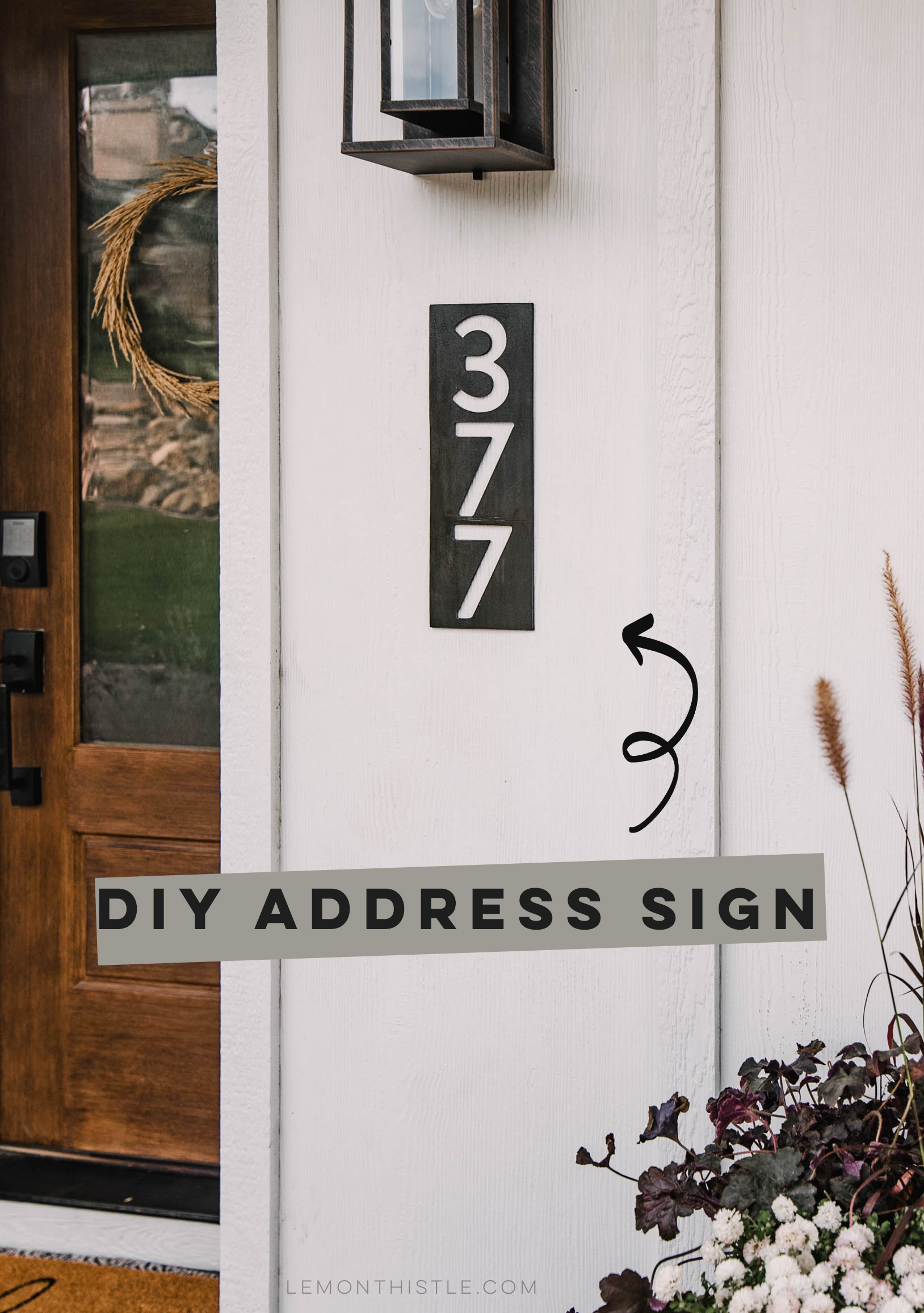 black modern address sign on white house with text overlay: DIY Address Sign