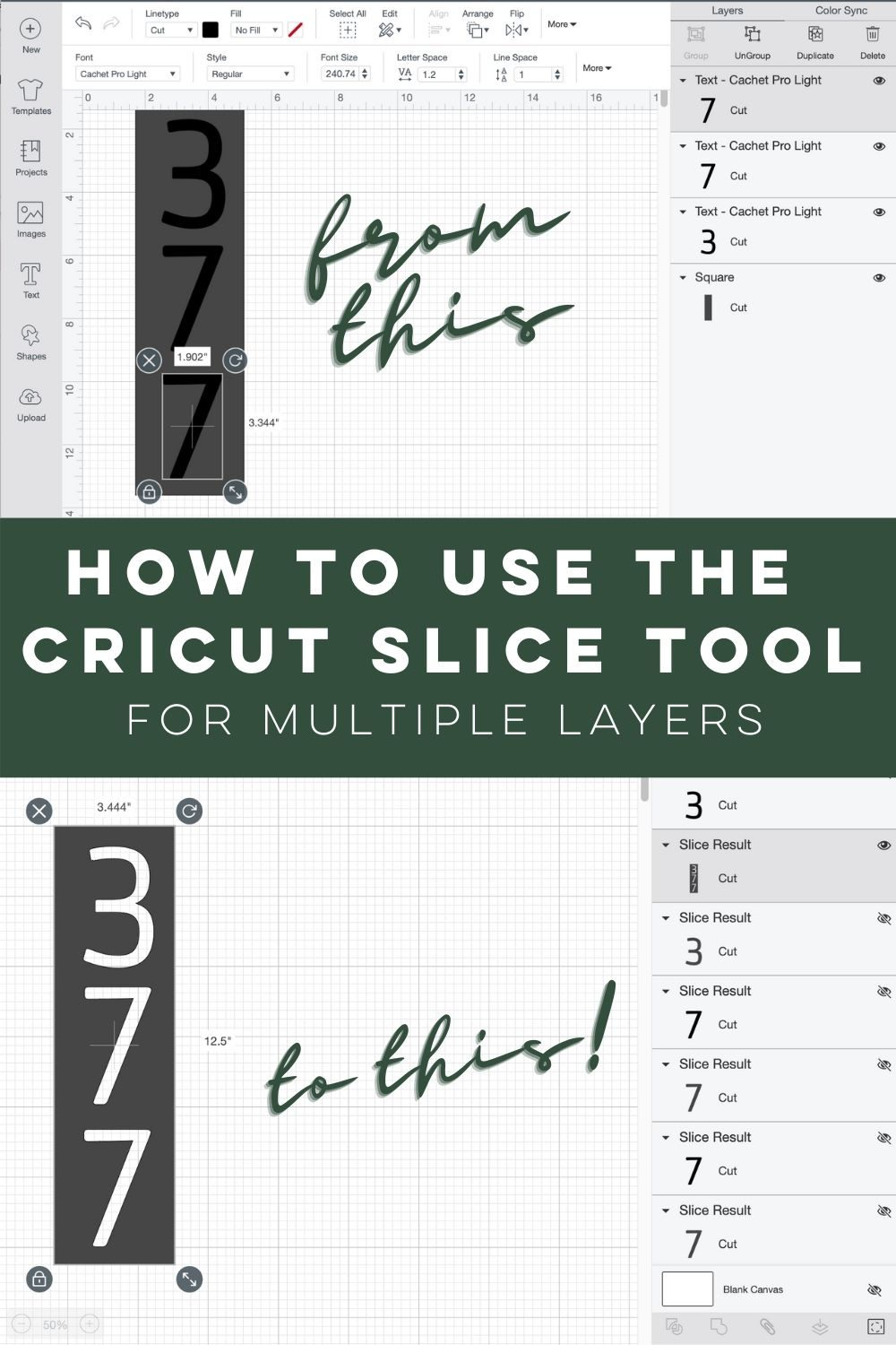 How to use the slice tool with multiple layers in Cricut Design Space