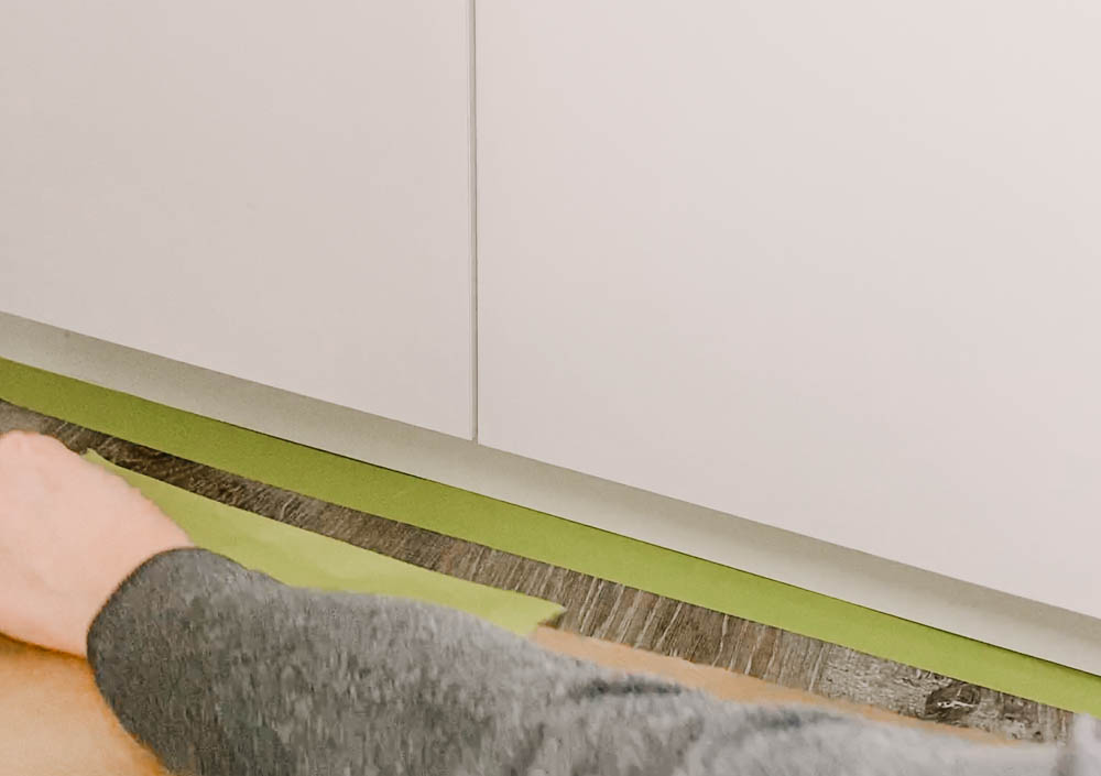 Masking floors for painting cabinets