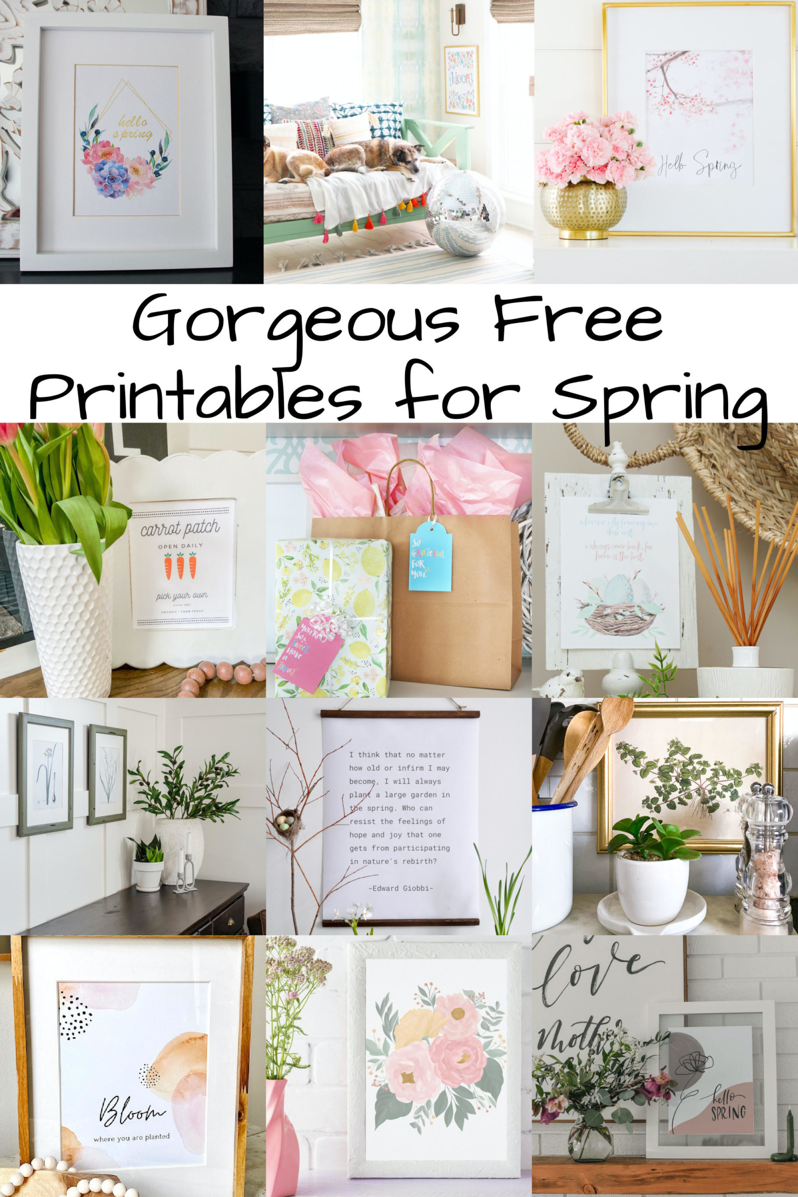 collage of Free Printables for Spring