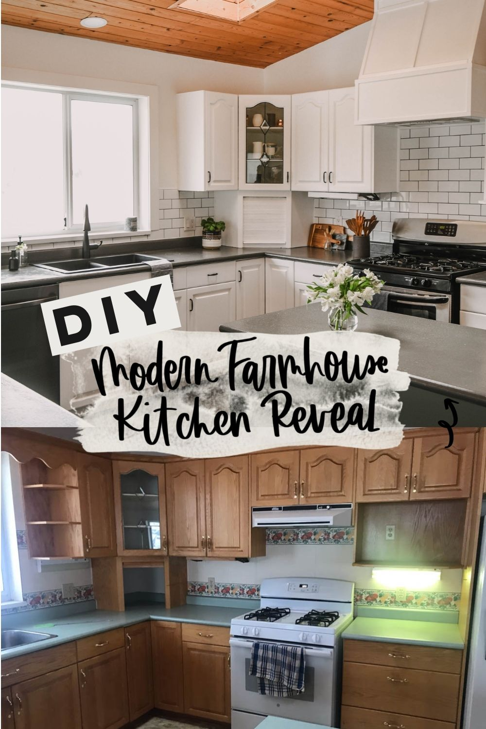 Modern Farmhouse Kitchen Makeover before and after with text overlay