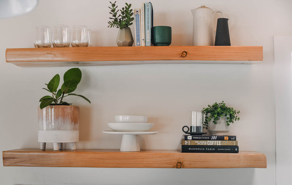 Modern Farmhouse Kitchen shelves