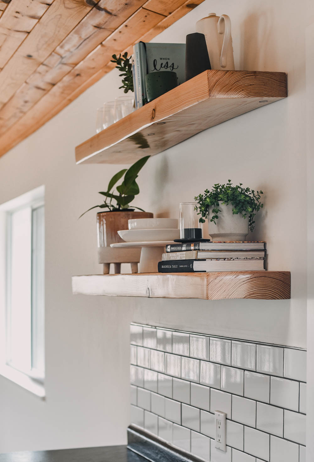 Modern Farmhouse Kitchen with wood open shelving