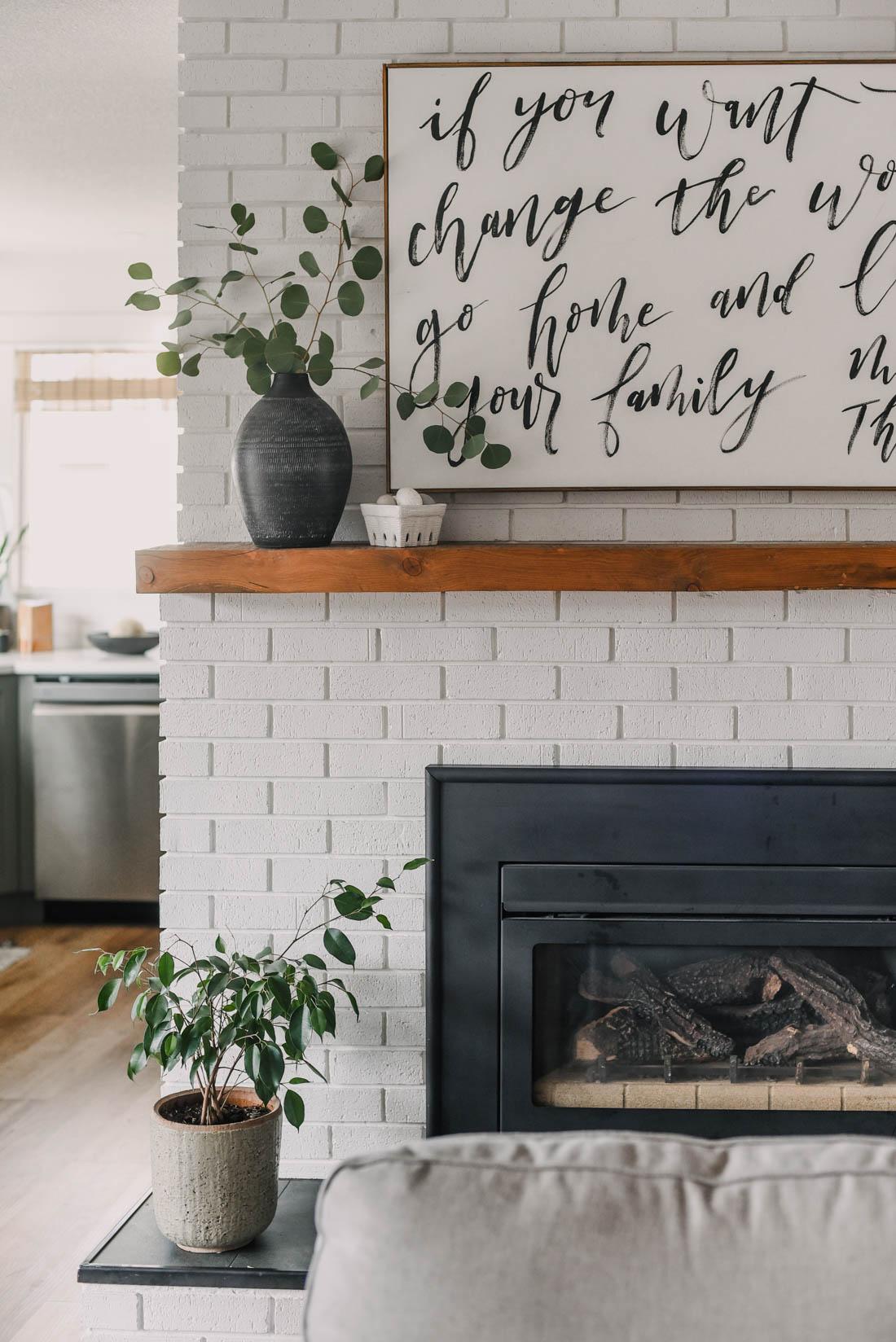 Simple and modern mantel decor