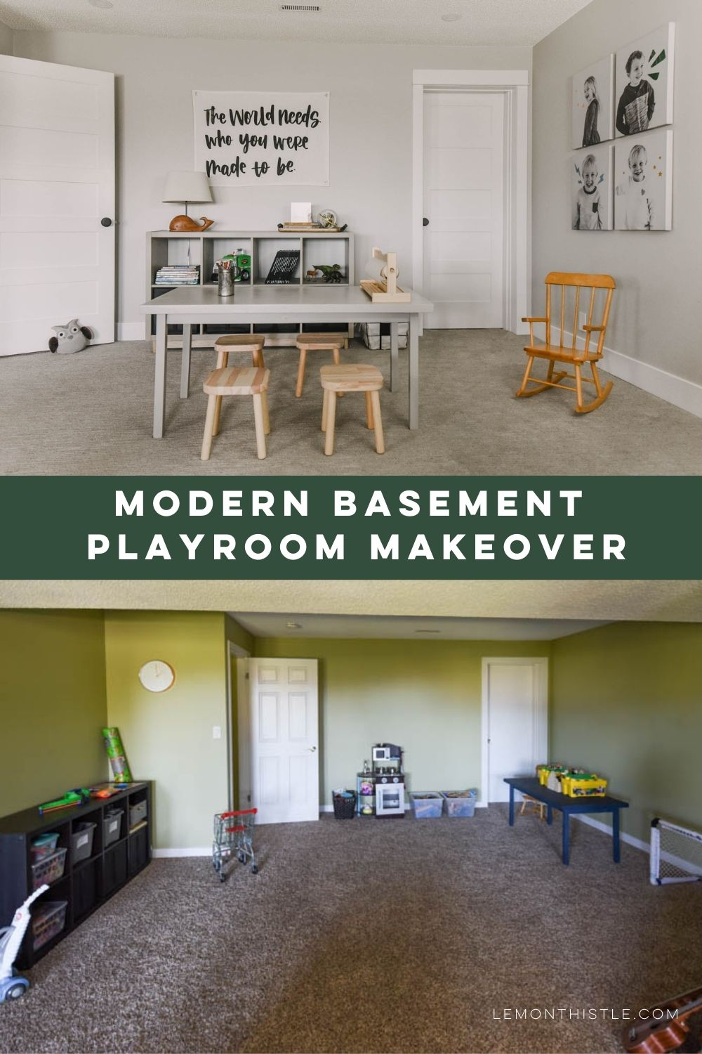 before and after photo with text: modern basement playroom makeover