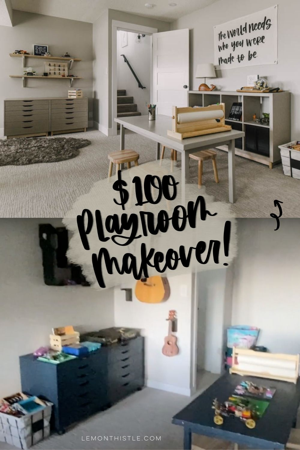 before and after with text overlay $100 playroom makeover