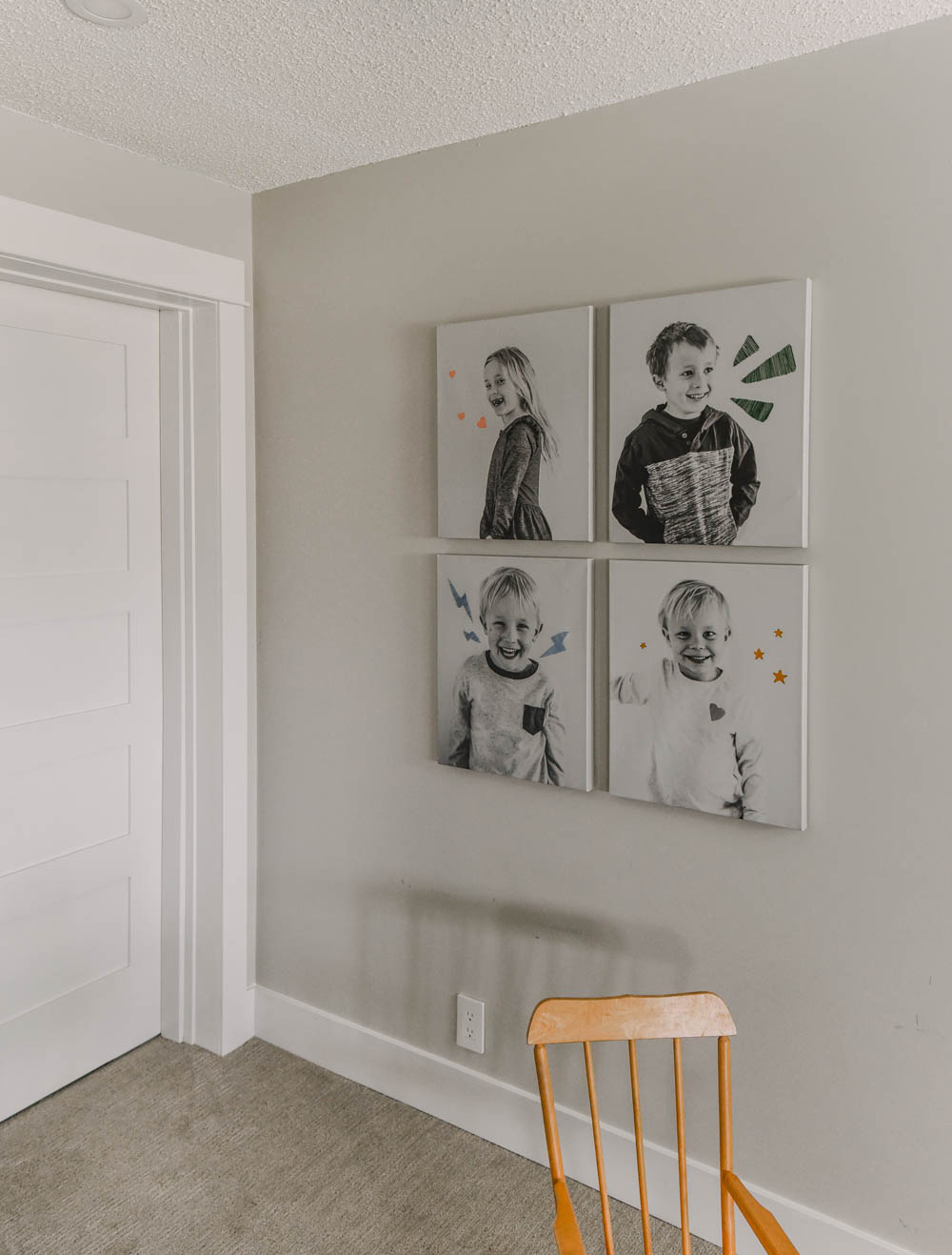 Embroidered black and white canvases
