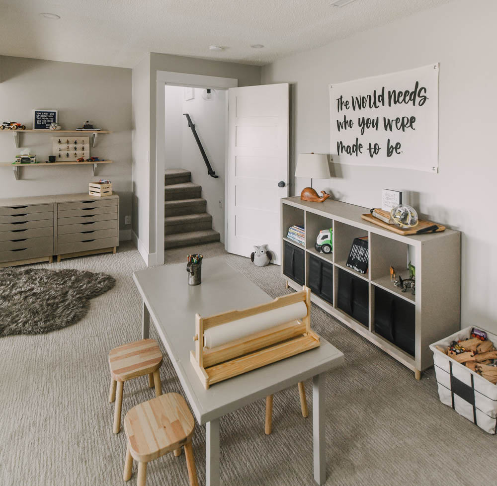 modern neutral playroom with ikea painted storage
