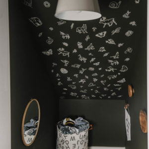 whimsical flora and fauna faux wallpaper