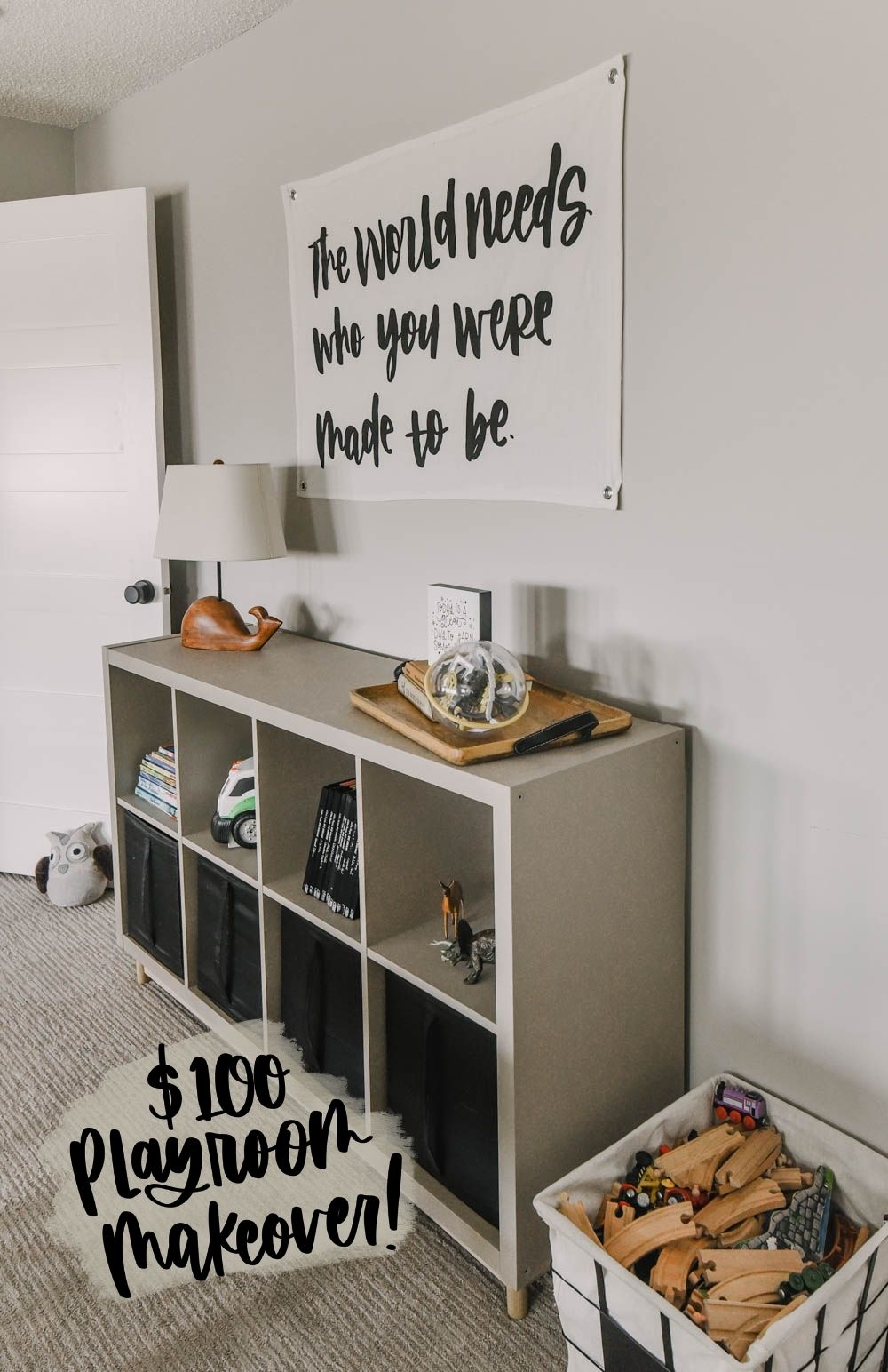 Image of playroom storage with text overlay $100 Playroom Makeover