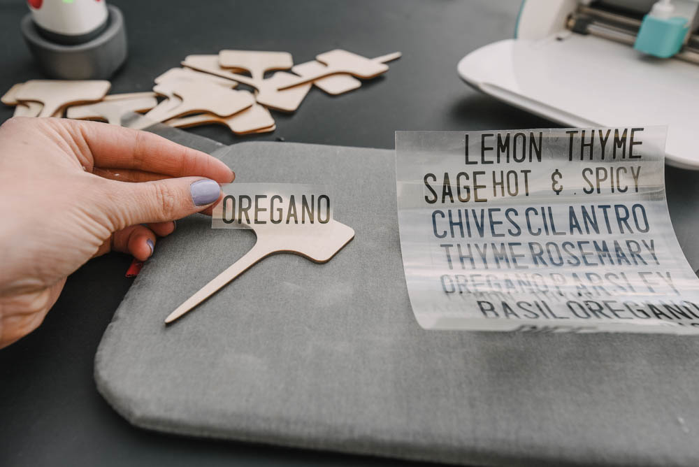 DIY Garden Markers with bamboo plant picks and iron on vinyl
