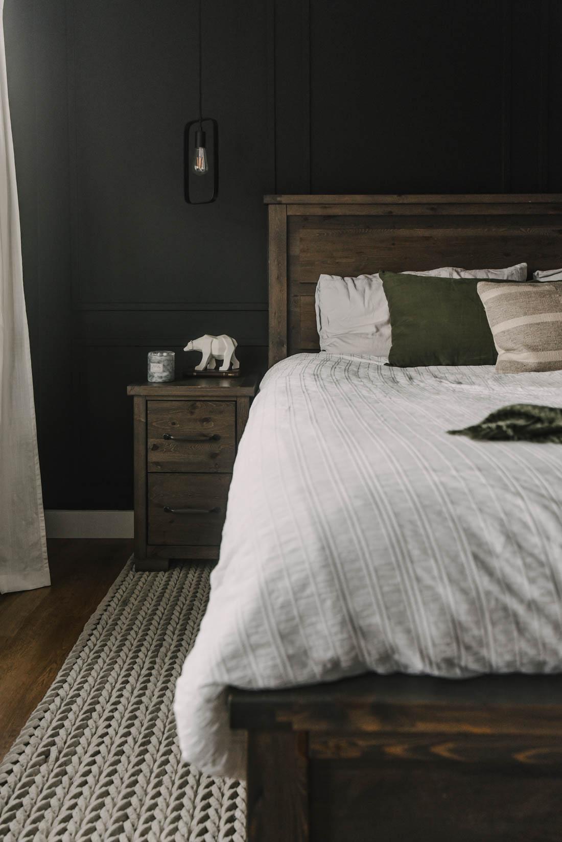 White Bedding, black bedroom design
