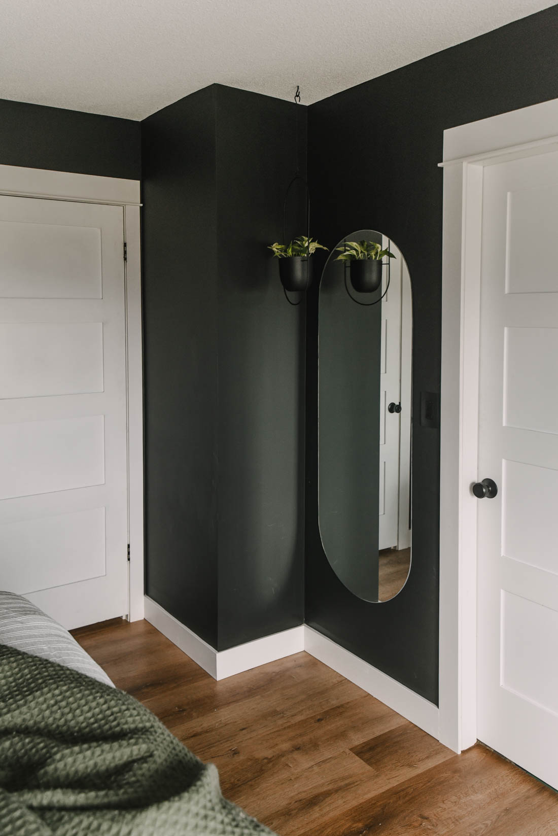 Moody black bedroom decor