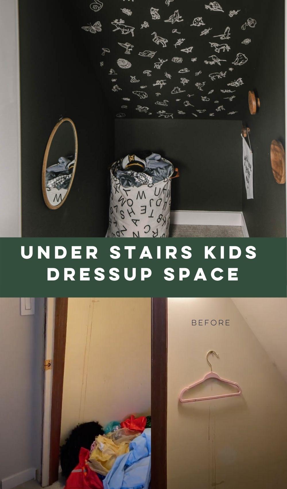 Under stairs transformation! modern kids playroom dress up corner
