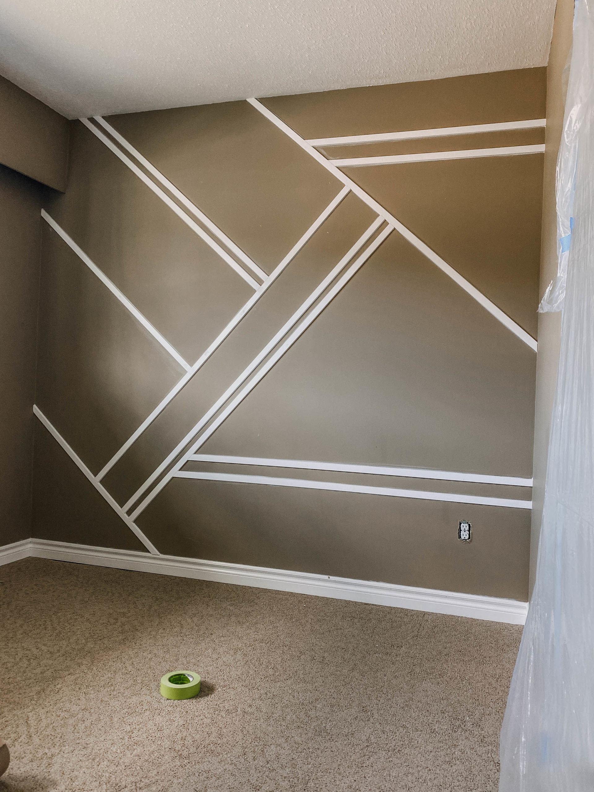 DIY Geometric Moulding Wall before paint