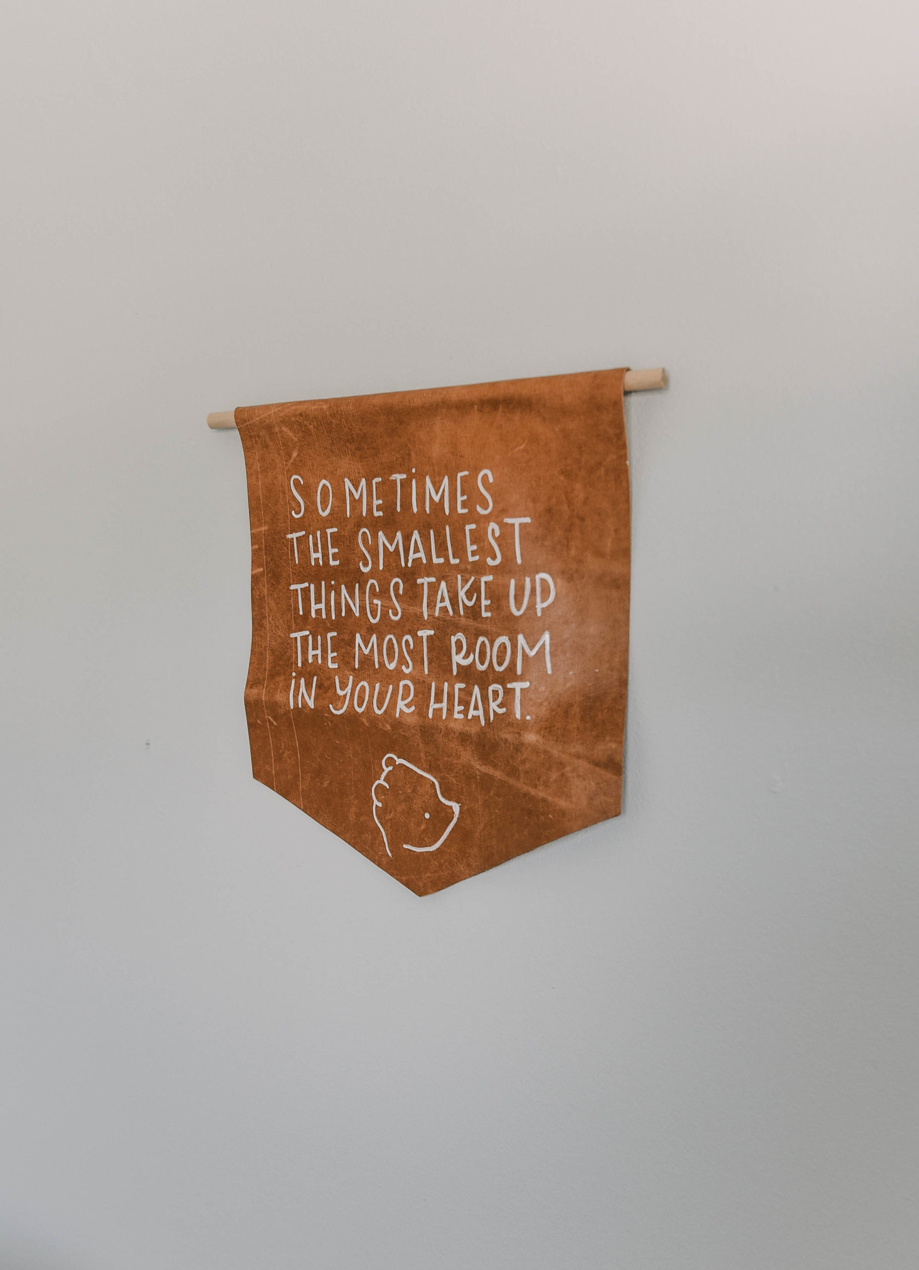 Modern Leather Pennant DIY with Winnie The Pooh Quote